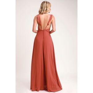 Lulus Meteoric Rise Rusty Rose Maxi Dress Small